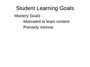 27 Student Learning Goals