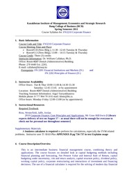 CorporateFinanceFall2011 syllabus