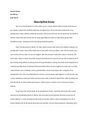 Desciptive Essay Final Draft