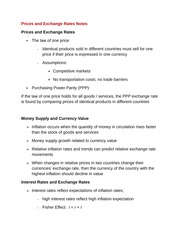 Prices and Exchange Rates Notes