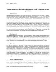 8. Review of Security and Control practices of Cloud Computing service provider