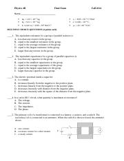Sample Final Exam from Fall 2014