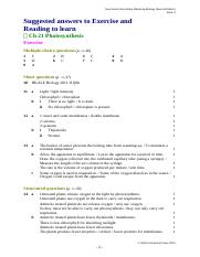 Chapter 21 (Photosynthesis) exercise solution