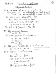 Math 105 Tutorial Polynomial Functions