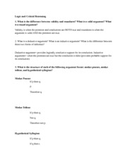 Logic and Critical Reasoning Homework