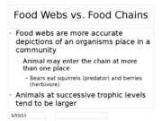 Food Webs vs