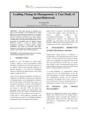 Case Study on Leading Change in Management of Jaguar and Halewood_266911794