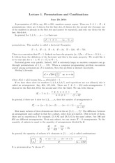 Lecture 1 on Permutations and Combinations