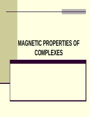 MAGNETIC PROPERTIES OF COMPLEXES