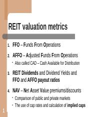 3-31 REIT valuation metrics