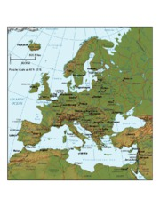 Europe Topographical Map