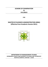 MBA Syllabus and Scheme wef 2011