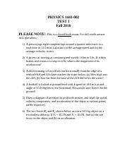 PHYSICS 1443 Fall 2010 Exam 1.doc