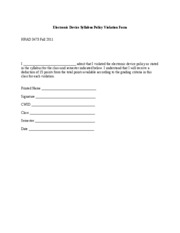 3473 Electronic Device Syllabus Policy Violation Form