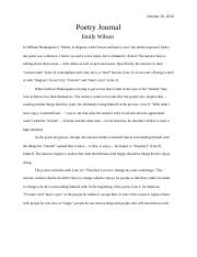 Poetry Response Journal #4 - Emily Wilson