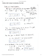 Motion With Constant Acceleration Notes
