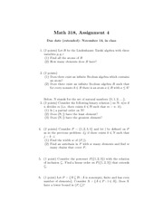 Assignment 4 for MATH 318