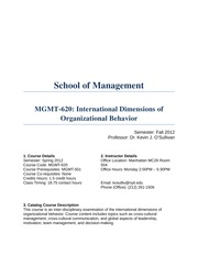 MGMT-620 Fall 2012 Syllabus
