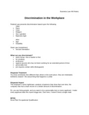 Notes - Discrimination in the Workplace