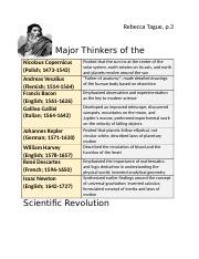 Chapter 15 major thinkers of the scientific revolution