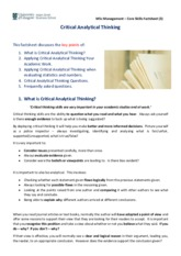 Factsheet 3 - Critical Analytical Thinking