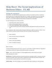 Help sheet P3 M2 - The Social Implications of Business Ethics.docx