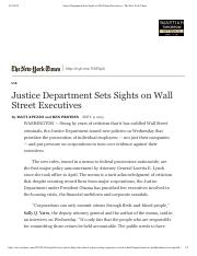 law.Apuzzo.Justice Department Sets Sights on Wall Street Executives.2015
