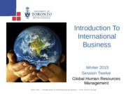 MGT 491- Global Human Resources - Winter 2015