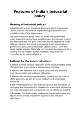 Features of Industrial Policy