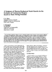 A Summary of Thermo-Mechanical Model Result for the Evolution of Continental Margins Based on Three