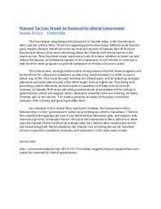 POLI SCI ARTICLE #3 Planned Tax Cuts Would be Reversed by Liberal Government         Nando D'Oria –