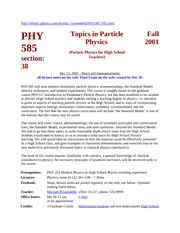 PHY 585 F01 Course Info