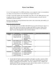 Pyrex Case Analysis Memo guideline
