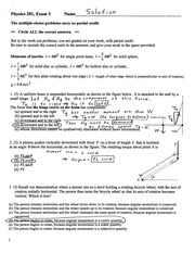 Exam 3 Solution on College Physics
