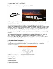 Organizational structure of the enterprise. NIKE Managment.docx