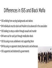 Differences in ISIS and Black Mafia