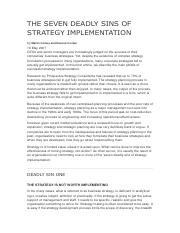 25 THE SEVEN DEADLY SINS OF STRATEGY IMPLEMENTATION