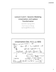 Lect3 - Dynamic Modeling, Linearization, Laplace