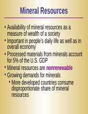 Lecture 9 - Mineral resources