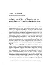 Valuation and the Effect of Regulation on New Serv
