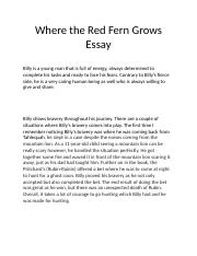 Where the Red Fern Grows Essay.docx