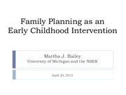 Lecture 20 Family Planning as an Early Childhood Intervention