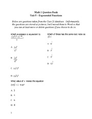 Sp Topics Unit 9 Exam Review - Exponential Functions