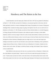 Hansberry and The Raisin in the Sun
