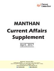 MANTHAN Current Affairs Supplement – April_ 2017