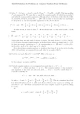 Solutions to Problems on Complex Numbers