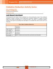 Week 6 Oxidation-Reduction  Activity Series.doc