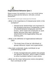 Organizational Behavior Quiz 1