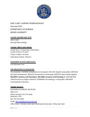 Pharmacology Syllabus Summer May-August 2013
