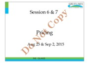 Session 6 & 7- Pricing